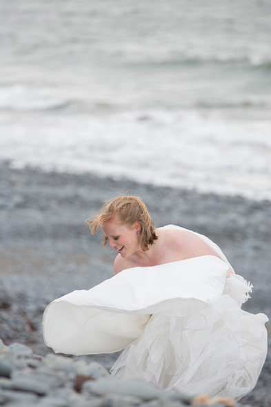 trash the dress bride beach aberystwyth