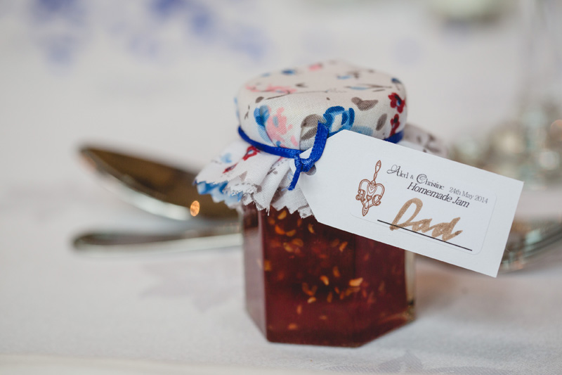 Homemade jam as favour and placename | Wedding at Rhosygilwen Mansion by Whole Picture Weddings