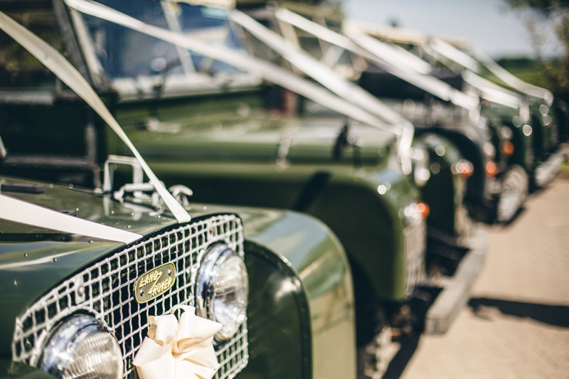 Landrovers for wedding transport! At home Pembrokeshire wedding by Whole Picture Weddings