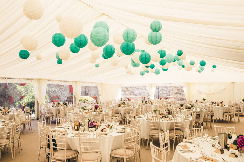 Gorgeous green and white marquee. At home Pembrokeshire wedding by Whole Picture Weddings