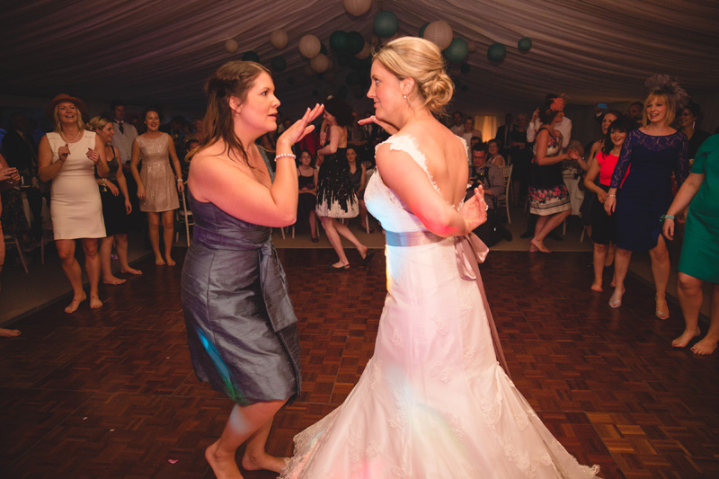 Dance by the hen party girls! At home Pembrokeshire wedding by Whole Picture Weddings
