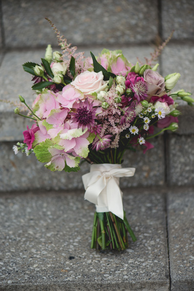 Dusky pink bride's bouquet | Rainy summer wedding at Oldwalls, Gower by Whole Picture Wedding Photography