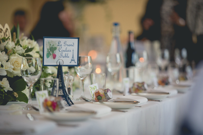 Paris theme table decorations | Wedding at Rhosygilwen by Whole Picture Wedding Photography
