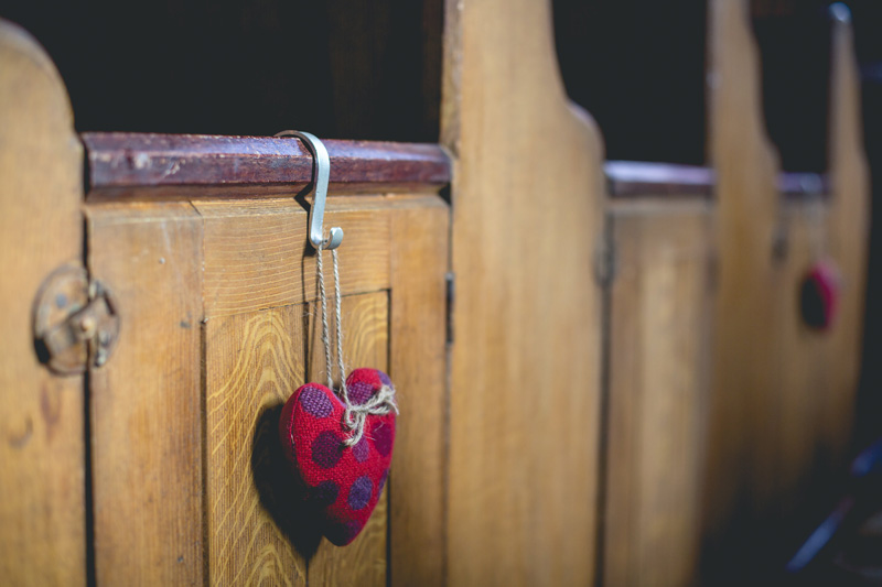 Handmade fabric hearts as aisle decor | Autumn wedding at Wolfscastle hotel by Whole Picture Weddings